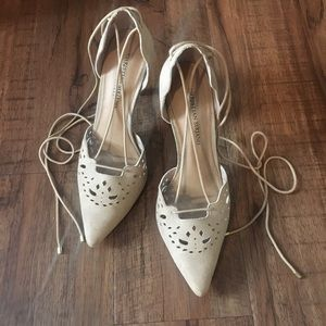 Christian Siriano Lace Up Light Beige Heels